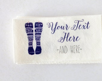 Knitting Labels for Handmade Items - Fabric Cloth Labels (Custom Tags for Knitters)