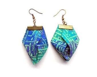 LetsPartySale Monet fabric Origami earrings, Trendy spring origami earrings, lavender and green origami earrings