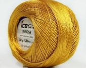 Gold Mimosa Size 10 Microfiber Crochet Thread - Ice 39156 - 50 gram 273 yards - For Bedspread, Needlepoint, Cross Stitch, Fiber Jewelry