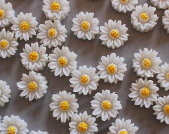 Plastic Daisy Cabochons (10)