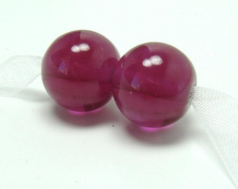 SRA Lampwork beads  -  Plain Jane : Fuchsia  -  magenta glass beads, pink lampwork, lampwork bead pair, purple pink beads