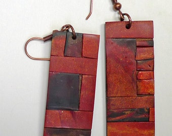 Polymer Clay Mosaic Earrings, Sedona Series,  Arizona Red Rock, Southwestern, Rustic.