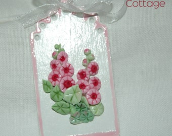 SALE Spring Ornament Pink Hollyhocks Gift Tag Style Handmade Rose Glazed Die Cut