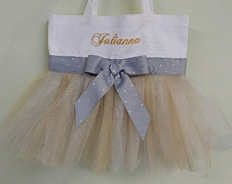Flower girl tote, dance bag, Embroidered Tote Bag-White tote Bag with silver and gold tulle Personalized Tutu Ballet Tote Bag - TB7499 - BP