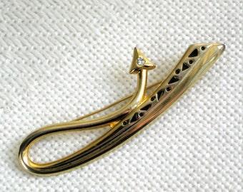 80s Arrow Brooch Enamel Rhinestone Vintage Costume Jewelry