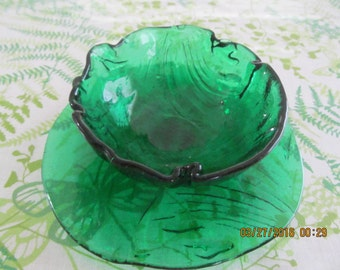 Vintage Green Glass Serving Bowl Pair  from Marianne of Maui