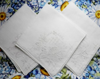 New Old Stock Wedding Hankies, Drawnwork Handkerchiefs, Madeira Embroidery