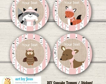 Winter Woodland Forest Animals Pink Girl Birch Tree Party Favor Cupcake Toppers / DIY Stickers / INSTANT DOWNLOAD bs-67