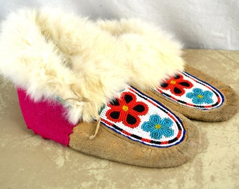 Vintage Beaded Leather Suede Fur Moccasins Booties