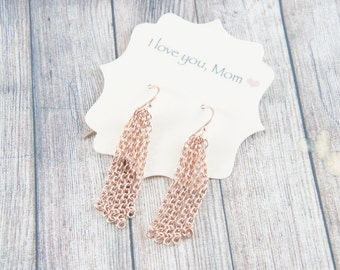 rose gold plated chain long dangle earrings, party, holiday season, special occasion earrings, wedding, bridesmaids gifts