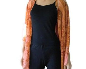 Kimono cardigan - Salmon shades and a little beige -Chiffon sunset orange/salmon Ruana cardigan