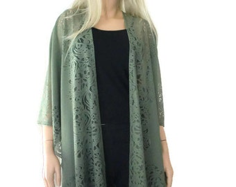 Khaki green  Bohemian Lace Kimono -Dark olive/ khaki/Army freen-Fringe kimono cardigan-Oversize kimono