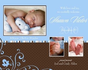Digital File Print it Yourself/Baby Birth Announcements/you can change the colors/Shawn or Nadia design