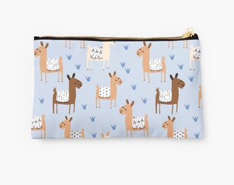 Alpaca llama Zip Pouch, Make Up Bag, Pencil Case, Clutch Bag, Pouch, Cosmetic Case, Llama Bag, Alpaca Pouch, Zippered Pouch