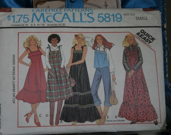 McCalls 1970s pattern 5819 for summer prairie dress size small 10-12