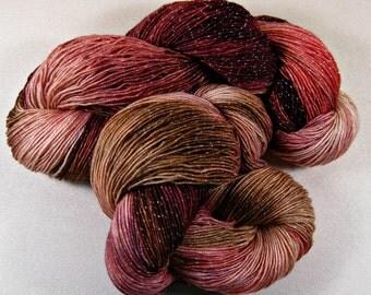 10% off! Burgundy Coral Hand-dyed Superwash Merino/Lurex Yarn, fingering weight