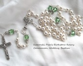 Swarovski Pearls Birthstone Communion, Wedding, Baptism Rosary