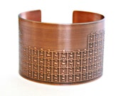 ON SALE - COPPER Cuff Bracelet - Periodic Table of Elements - Handmade - Graduate Gift - Can Be Personalized with Your Own Designs or Text!