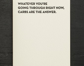 carbs. letterpress card. #919