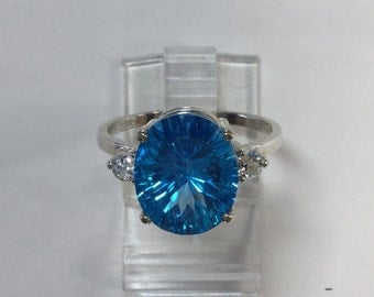 Accented Swiss Blue topaz ring