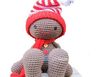 ENGLISH Instructions - Instant Download PDF Crochet Pattern - Huggy Gingerbread Man