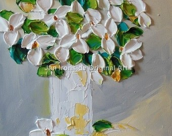 Original Painting , Oil painting , White Floral , ironside , palette knife