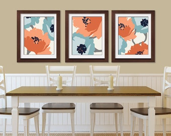 Blooming Garden (Series A) Set of 3 - Art Prints (Featured in (Blue and Sienna scheme) Botanical Art Print / Poster
