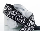 Camera Strap with Pocket, dSLR, Notes in Black and White, SLR, 39