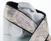 French Vintage Postage, dSLR Camera Strap, Postage Stamps, Script, SLR, Canon camera strap, Nikon camera strap, Photogropher Gift, 202 w