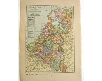 Netherlands  Holland Belgium Luxemburg vintage paper map . Original  1923 in pastel colors.  Frame for wall  or travel art paper ephemera.