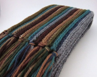 Striped Merino Wool Scarf, Multicolor Crochet Knit Scarf