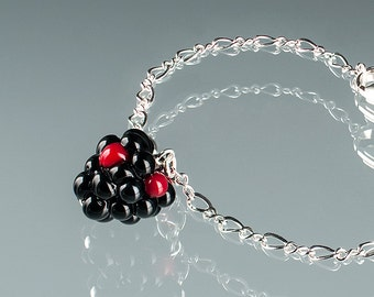 Blackberry Bracelet, adjustable length with lampwork glass blackberry bead and lobster clasp. Fruit jewelry for the blackberry lover.