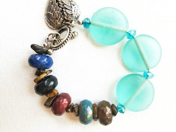 Boho Bracelet, Chunky Bracelet, boho jewelry, boho bead bracelet, colorful bracelet, teal bracelet