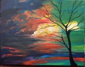 Landscape Sunset Acrylic Painting 11 x 14 Tree Clouds Yellow Blue Black Orange Green Beauty Nature HomeDecor Wedding Gifts Holiday Birthdays