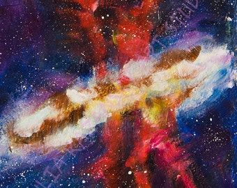 Outer space original acrylic painting Astronomy art Nebula painting Dancers of the Nebula Stars galaxy painting
