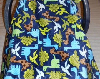 Blue Zoology Dinosaurs Cuddle and Light Blue with Brown Polka Dots Flannel Baby Carrier Cover