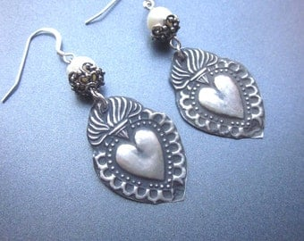 Heart Dangle Assemblage Earrings Ex Voto Pearl Jewelry