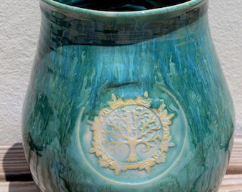Wedding Gift. Housewarming Gift. Anniversary Gift. Vase. Tree of Life. Couples Gift. Made in Virginia. Big Dog Pots Pottery. Large. Tall.
