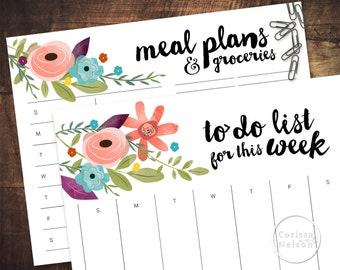 Watercolor Flower Weekly Meal Planner and To-Do List - Instant Printable