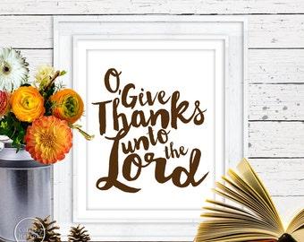 O Give Thanks Christian Prayer Printable in Autumn Brown