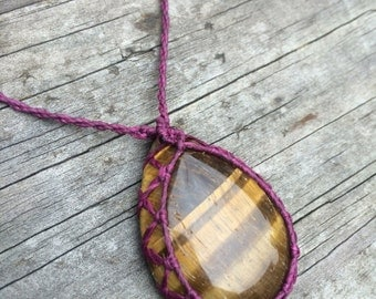 Tiger Eye macrame necklace with maroon string