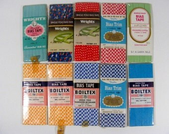 Bias Tape 10 Packages of Vintage Sewing Trim