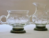Vintage Etched Glass Creamer Pitcher and Sugar Set with Sterling Silver Base , Footed Base, Thin Clear Glass