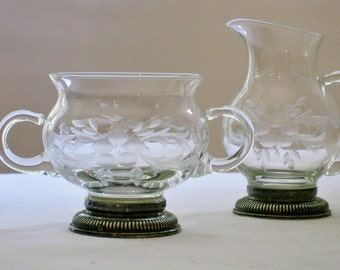 Vintage Etched Glass with Sterling Silver Base Creamer Pitcher and Sugar Set, Footed Base, Thin Clear Glass
