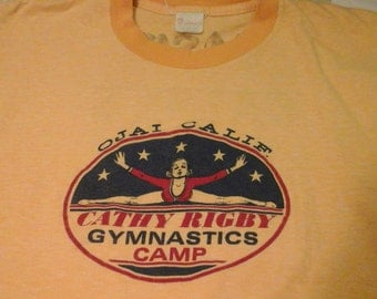 Vintage Cathy Rigby Gymnastics Camp tee shirt screen printed signed on back by Cathy