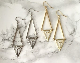 Geometric Triangle Gold Dangle Earrings