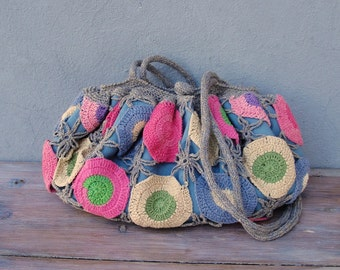 Happy Hobo Bag Crocheted Multi colored Boho Bag