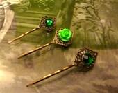 Emerald Vintage Jewel Hair Pin Set - Antique Bronze Filigree - by Joolienn on Etsy