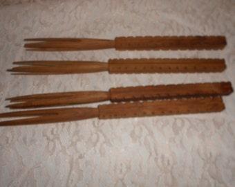 Cannibal Forks Hand carved set of 4