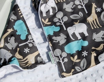 Baby Blanket-Gender Neutral Baby Blanket - Boy or Girl -  Zoology Animals with Your Choice of Minky